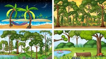 fyra olika natur horisontella scener