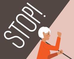 Frau mit einem Stoppplakat vektor