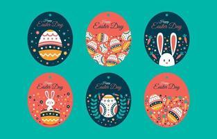 Sammlung von Ostereiern, Kaninchen, Karotten und Blumenetiketten vektor