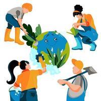 grupp människor tar hand om ekologi och räddning planet. flickor och män rengör för jorden och skyddar naturen. platt vektorillustration