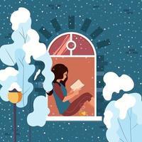 ung kvinna som kopplar av hemma som sitter på fönsterbrädan som läser en bok. flickan vilar i ett mysigt hus och utanför fönstret är det vinter. vektor illustration.