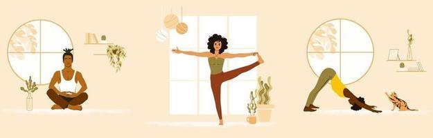 uppsättning ungdomar som gör yoga hemma. afroamerikansk kvinna, asiatisk man och vit flicka på yogaklass. platt vektorillustration