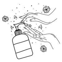 Händewaschen. Linienvektorillustration. Flüssigseife und weibliche Hände auf lokalisiertem weißem Hintergrund vektor