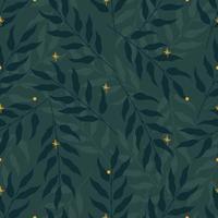 nahtloses Naturmuster mit grünen Blättern und gelben Sternen oder Glühwürmchen. flache Vektorillustration vektor
