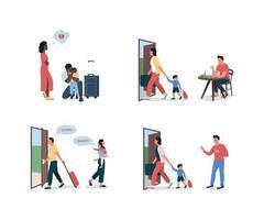 skilsmässa föräldrar platt färg vektor detaljerad teckenuppsättning