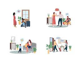 familj konflikt platt färg vektor detaljerad teckenuppsättning