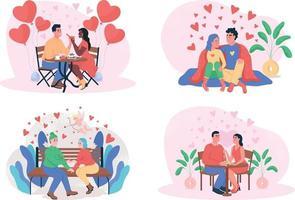 Valentinstag 2d Vektor Web Banner, Poster Set