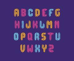 roliga och rundade färgglada teckensnittsuppsättningar med vågiga linjer, lämpliga för logotyp, monogram, rubrik och barndesign