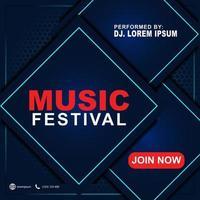 Musikfestival Banner Vorlage für Social Media Post, Web-Anzeigen, Poster. Musik Festival Poster Vorlage. 3d Hintergrundflieger für Musikfestival. vektor