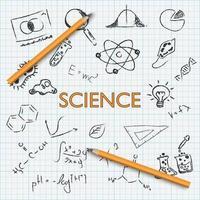 Wissenschaftserziehung Hand zeichnen Gekritzel mit Bleistift auf Millimeterpapier, Vektorillustration vektor