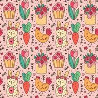 glad påskhelg klotter konst. kanin, kanin, muffin, tårta, kyckling, höna, blomma, morot. sömlösa mönster, konsistens, bakgrund. förpackningsdesign.