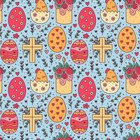 glad påsk semester doodle sömlösa mönster. tårta, kyckling i ägg, kristen kors. förpackningspapper design.