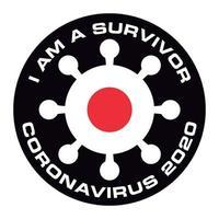 jag är överlevande från coronavirus 2020 japansk flaggklistermärke vektor