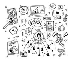 Doodle Set Social Media Konzept. Influencer Marketing Elemente. vektor