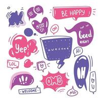 doodle uppsättning pratbubblor med dialogtext hej, kärlek, ja, välkommen, ok. komisk handritad skiss stil. text- och talballongelement ritat med pensel.