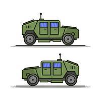Militärjeep auf weißem Hintergrund vektor