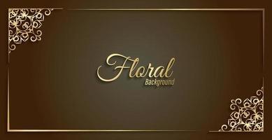 lyxig guld dekorativ blommig ram bakgrund vektor