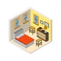 isometrisches Schlafzimmer auf weißem Hintergrund vektor