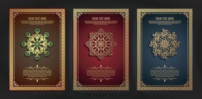 lyxigt gratulationskort med mandala motiv och kant i retrostil vektor