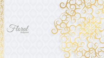 vit och guld blommig prydnad bakgrund vektor