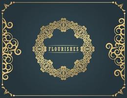 Vintage Ornament Grußkarte Vektor Vorlage. Retro-Hochzeitseinladung, Werbung oder anderes Design und Platz für Text. blüht Zierrahmen