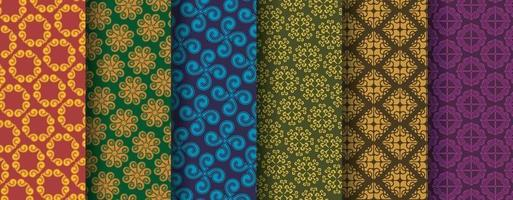 Sammlung nahtloser ethnischer Ornamentmuster vektor