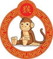 kinesiska stjärntecken djur apa tecknad apa månens astrologi ritning vektor