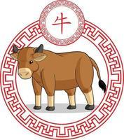 chinesisches Sternzeichen Kuh Stier Ochse Tier Cartoon Mond Astrologie Zeichnung vektor