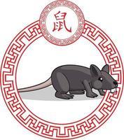 chinesische Sternzeichen Tier Ratte Maus Cartoon Mond Astrologie Zeichnung vektor