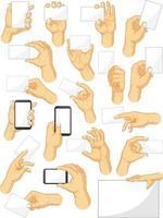 Handgeste, die Smartphone-Zeichenkarikaturvektorzeichnung hält vektor