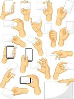 hand gest håller smartphone tecken tecknad vektorritning vektor