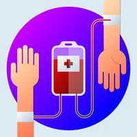 Två händer med blodtransfusionsillustration