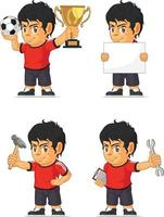fotboll fotboll pojke anpassningsbar klubb maskot tecknad vektorritning vektor