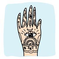 Hand mit einigen indischen Tattoos vektor