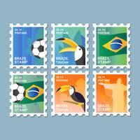 Vektor Brasil Porto Frimärken Collection