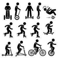 Park Ride Fahrzeuge Strichmännchen Piktogramm Symbole. vektor
