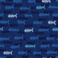 Fischgräten auf blauem Hintergrund. nahtloses Sommermuster. vektor