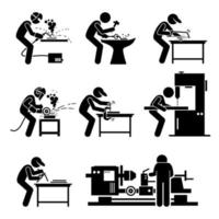 svetsarbetare som använder stålbearbetningsverktyg och utrustning för svetsning i metallverkstaden. vektor
