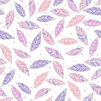 Vektorillustration des nahtlosen Musters der rosa und lila Blätter. Hand gezeichnete Blatt- und Herzbeschaffenheit. Elementdesign. vektor