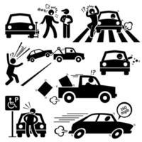 dålig bilförare rasande körning piktogram. vektor