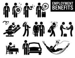 arbetstagare sysselsättning jobb fördelar streckfigur piktogram ikoner. vektor