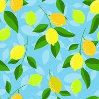 nahtloses Muster mit Zitronen auf dem blauen Hintergrund. helles Sommerdesign. vektor