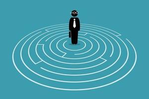 affärsman som står i mitten av en labyrint. vektor
