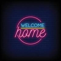 välkommen hem neonskyltar stil text vektor