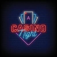 Casino Nacht Leuchtreklamen Stil Text Vektor