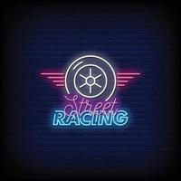 street racing neonskyltar stil text vektor