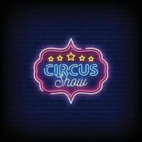 Zirkus zeigen Leuchtreklamen Stil Textvektor vektor