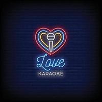 älskar karaoke neonskyltar stil text vektor