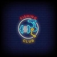 Neonzeichen des Fischerclubs Stiltextvektor vektor
