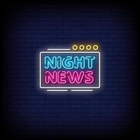 nattnyheter neonskyltar stil text vektor